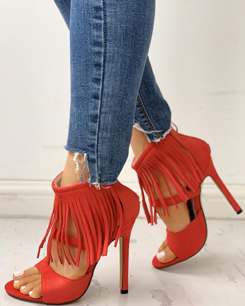 Solid Tassels Cut Out Thin Heeled Sandals