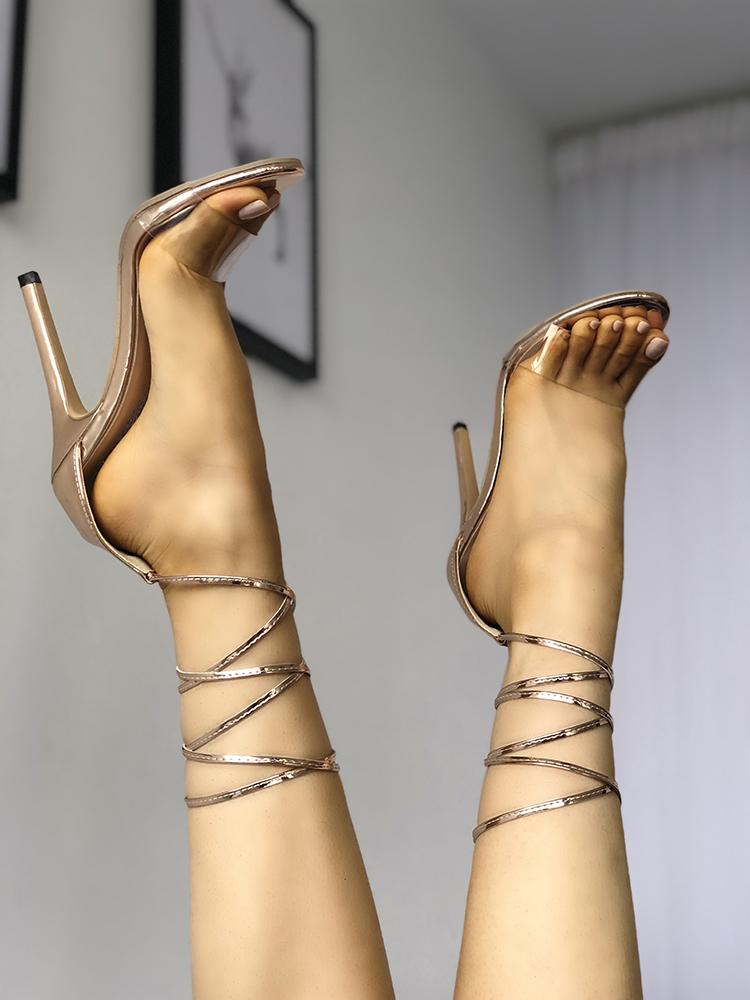 Transparent Single Strap Lace Up High-heeled Sandals