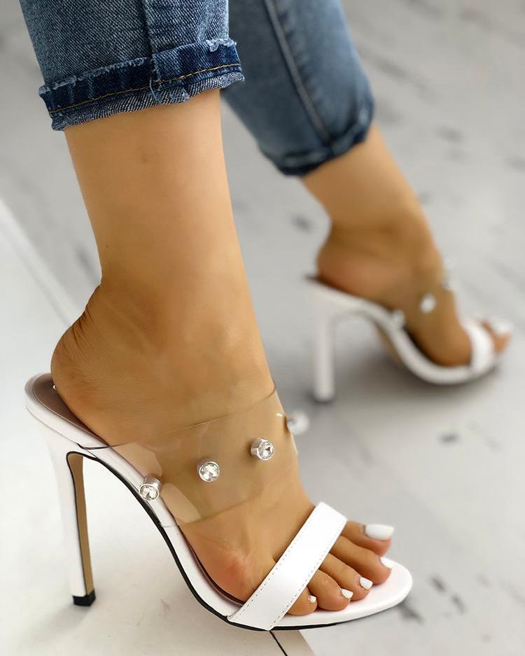 chicme / Shiny Embellished Transparent Thin Heeled Sandals