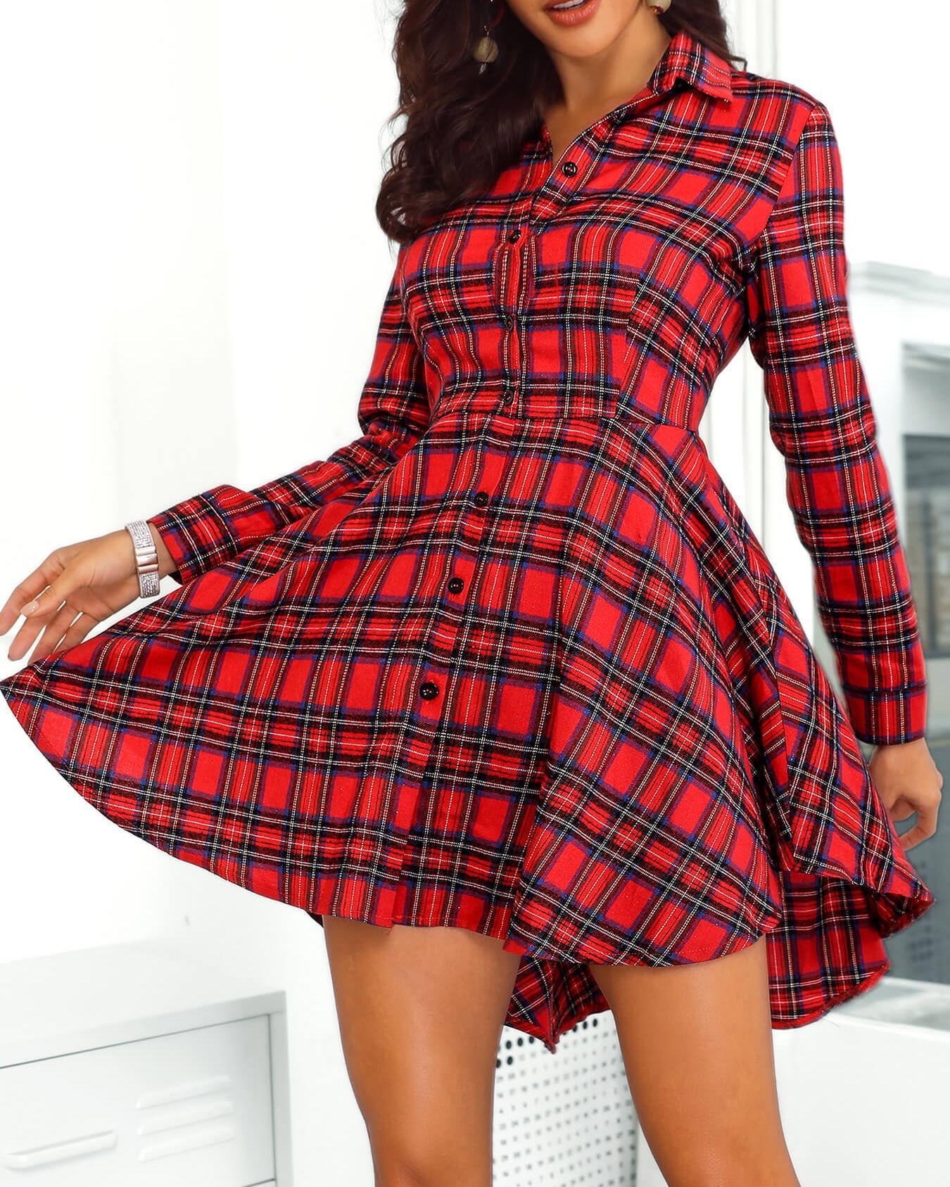 Plaid Print Button Up Irregular Shirt Dress