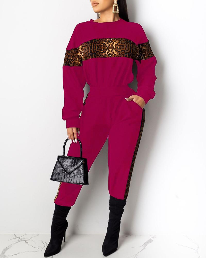 boutiquefeel / Conjuntos de top y pantalones de leopardo con cuello redondo y aplicación de bloques de color