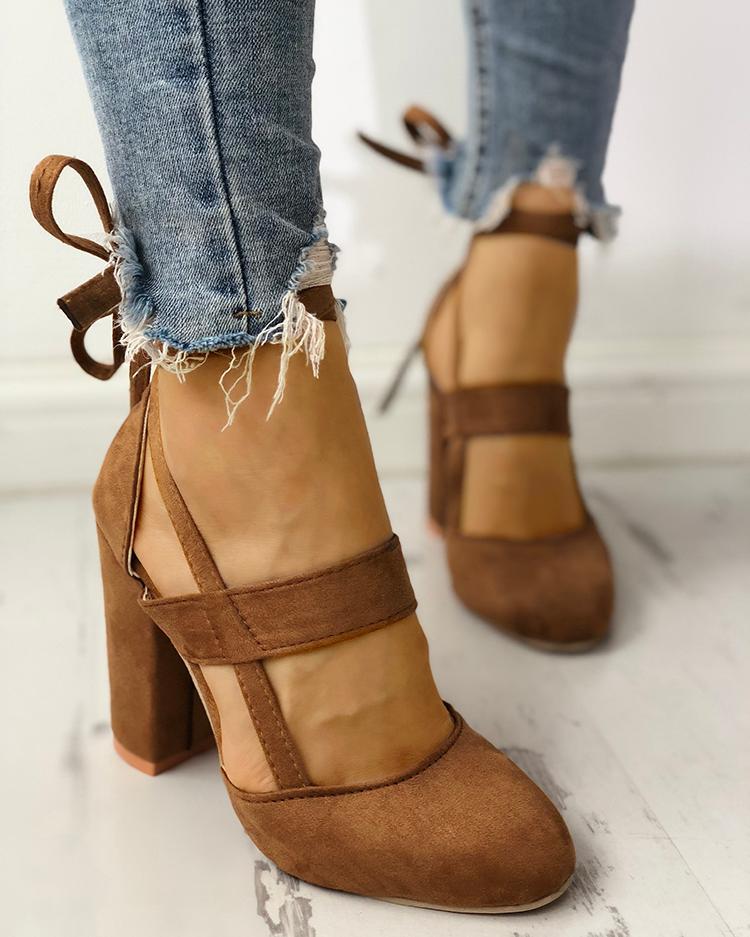Fashion Caged Chunky Heels Shoes фото