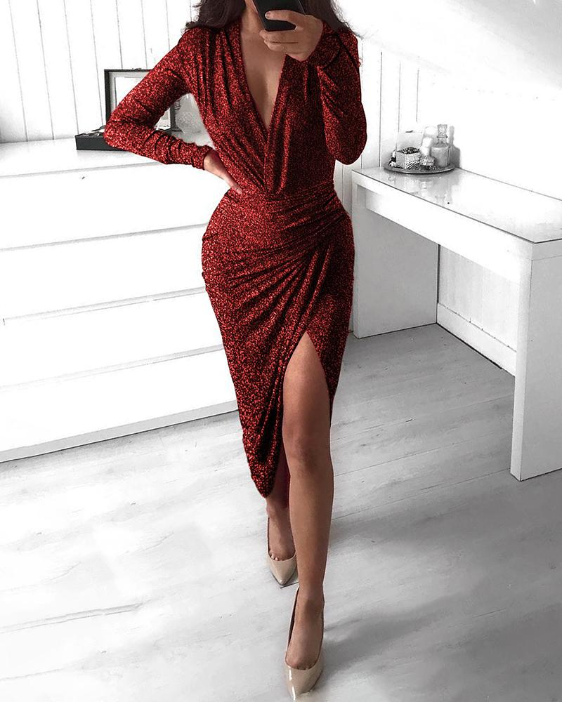 Image of Glitter Plunge Ruched Irregular Party Dress