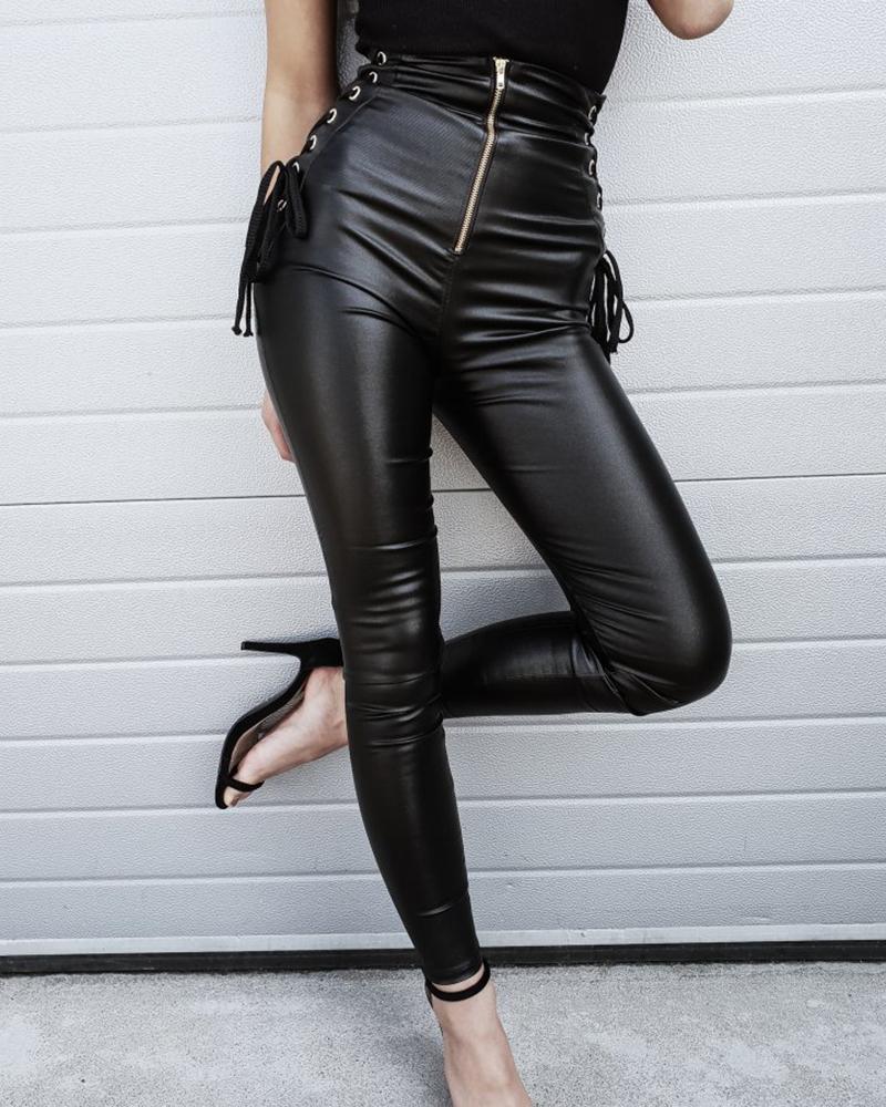 chicme / Pantalones pitillo con cremallera de cuero sintético