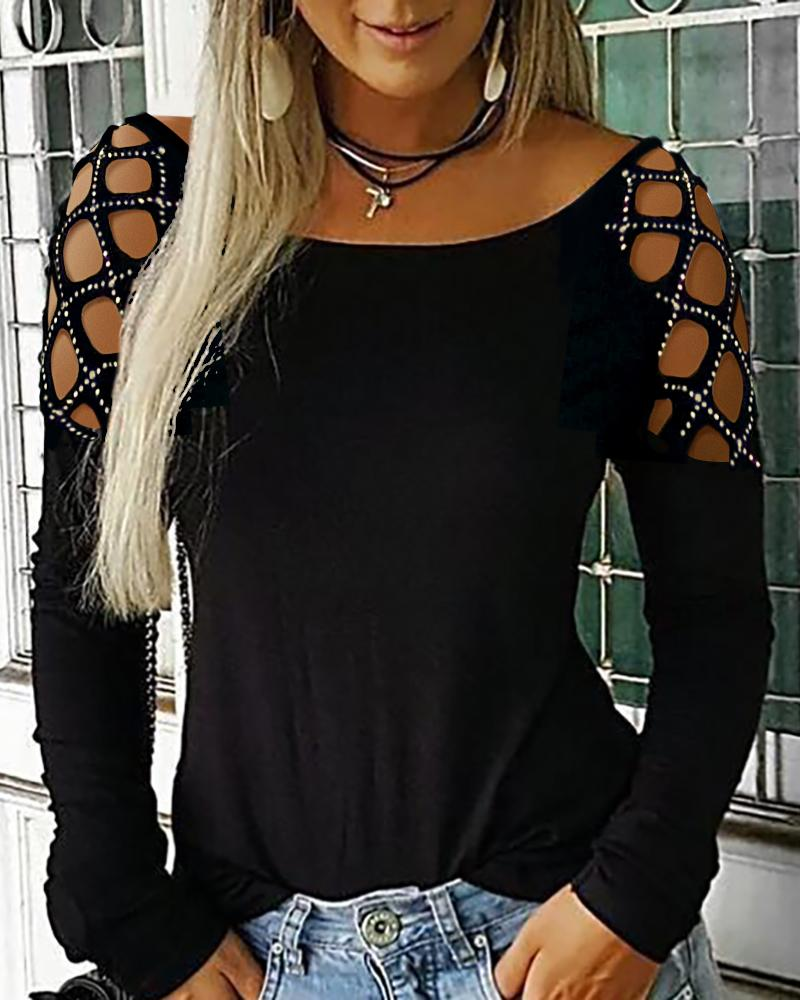 Studded Hollow Out Long Sleeve Top фото
