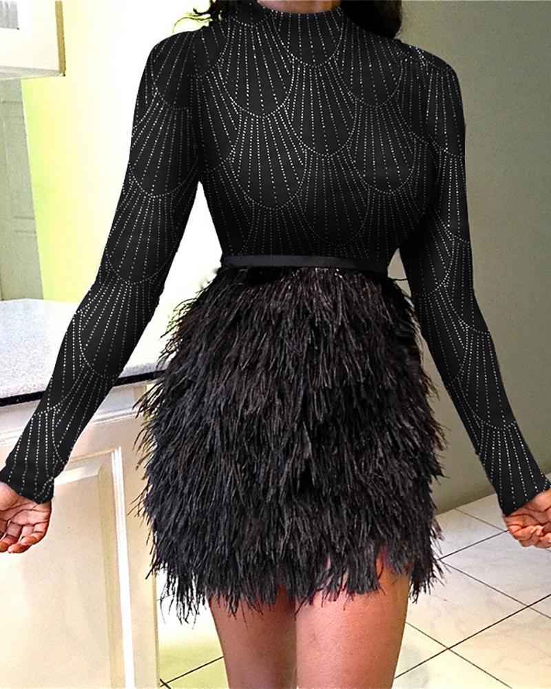 Glitter Mock Neck Feather Insert Long Sleeve Bodycon Dress фото