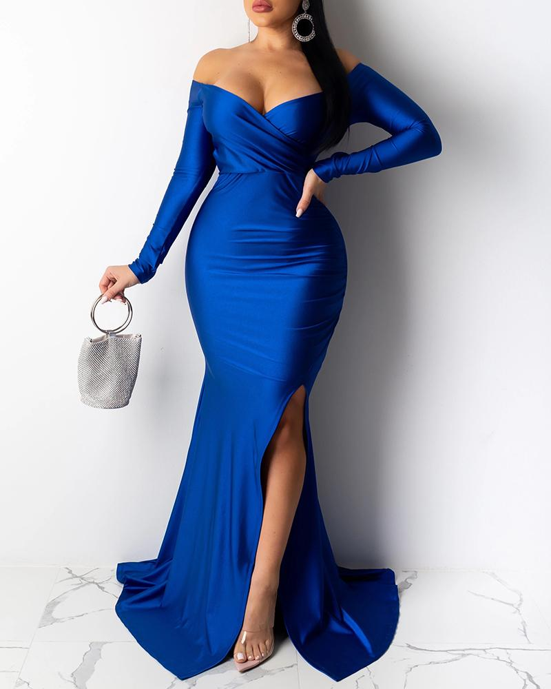 ivrose / Fora do ombro Ruched Slit vestido de noite