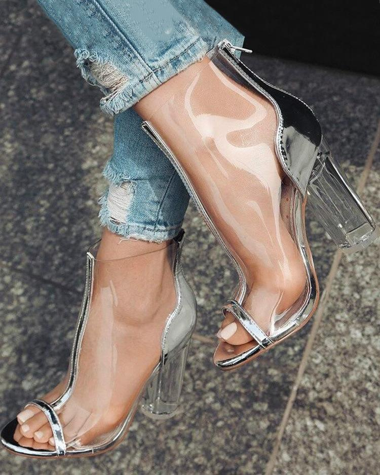 Мода Прозрачный Молния Толстые Высокие Каблуки Сандалии