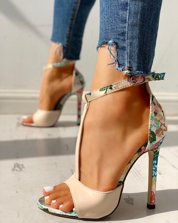 Contrast Color Floral Splicing Ankle Strap Heeled Sandals фото