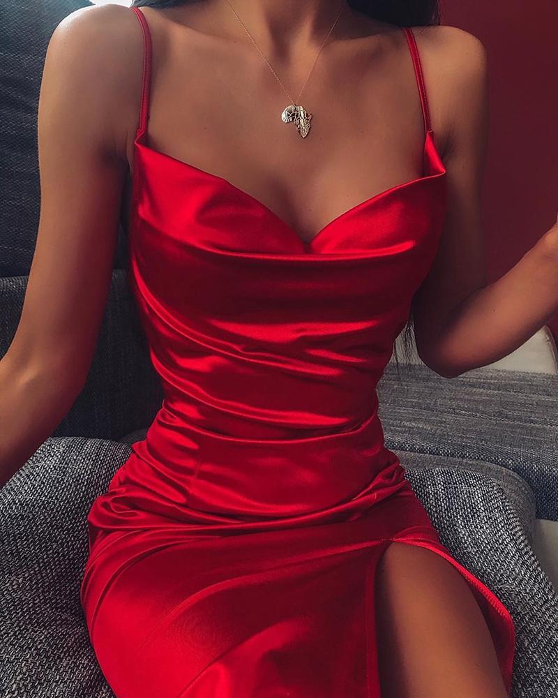 ivrose / Vestido de fenda Bodycon com cinta de espaguete