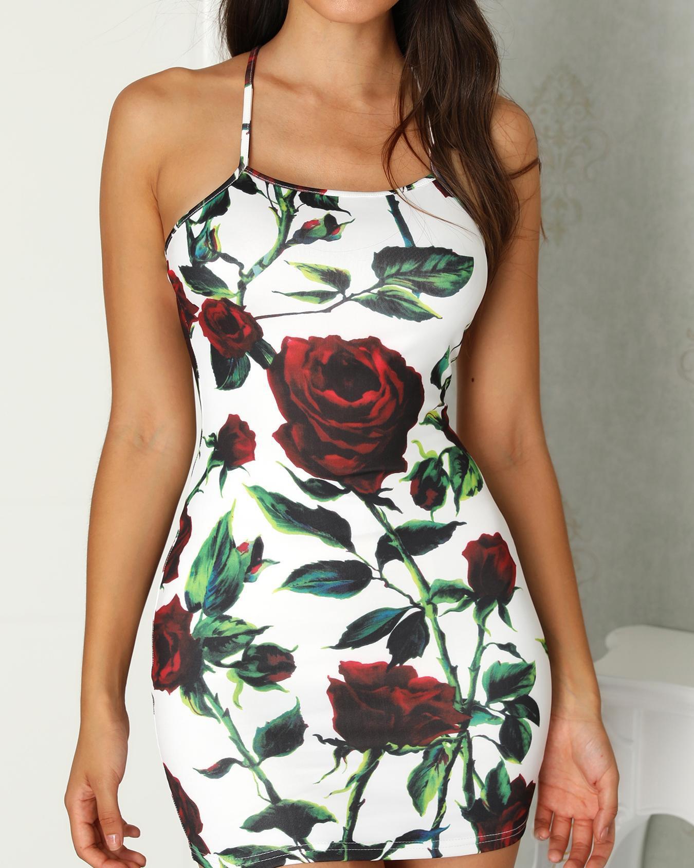ivrose / Rose Imprimir Crisscross Open Back Bodycon Dress