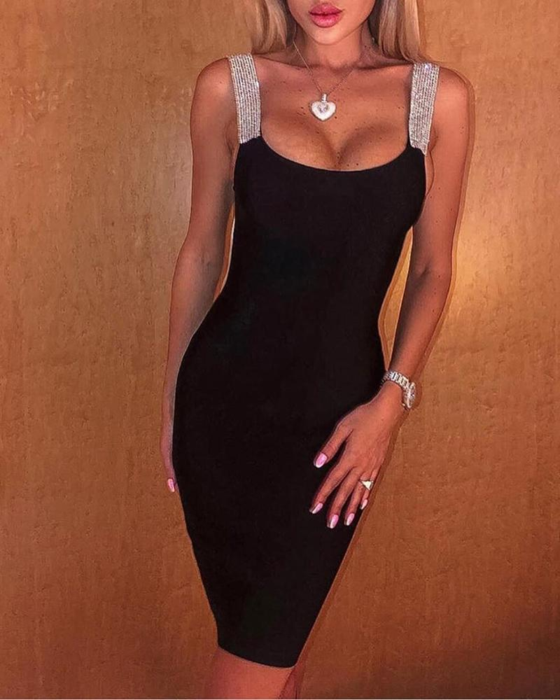 Thin Strap Colorblock Insert Bodycon Dress, Black