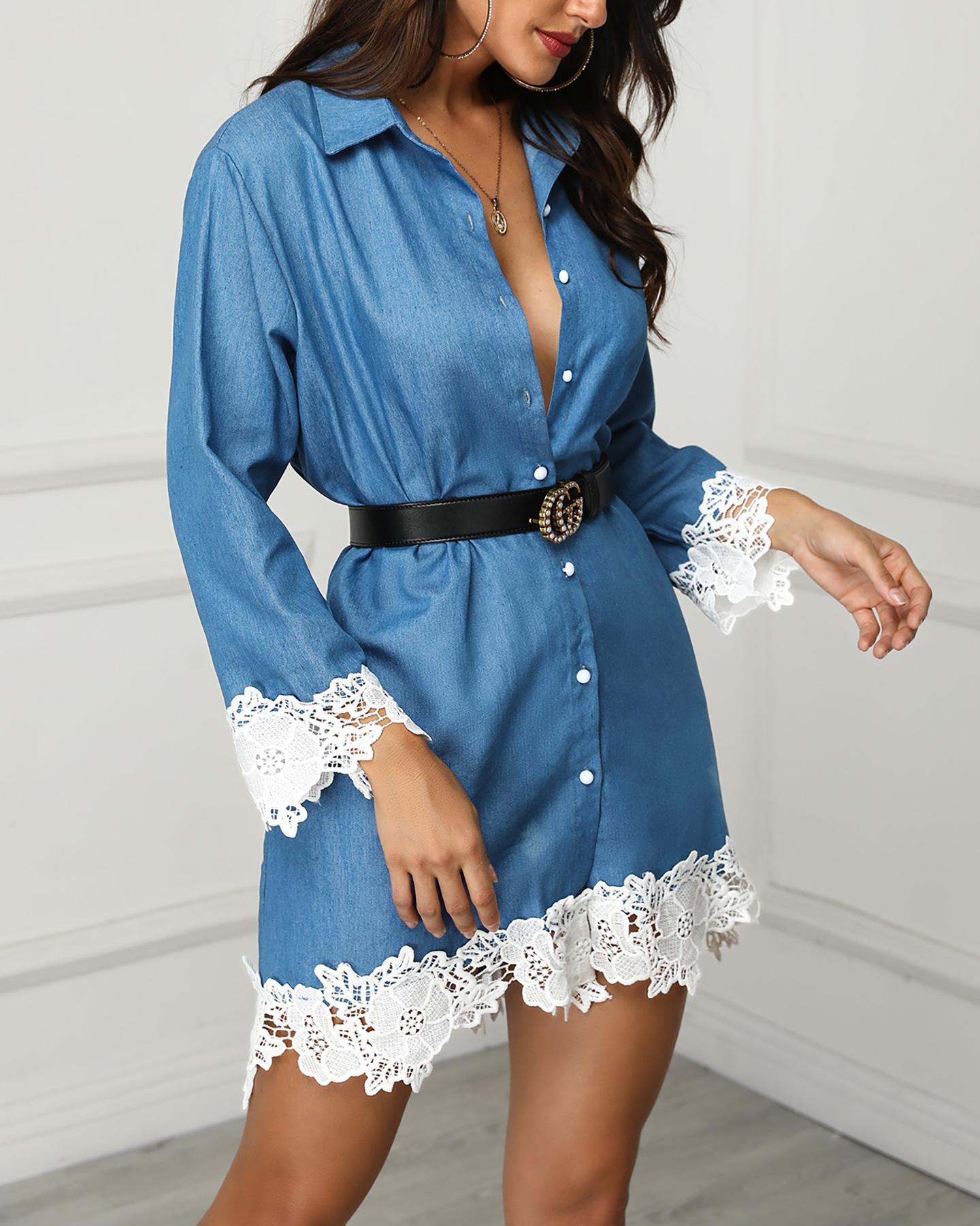 Lace Hem Denim Long Sleeve Shirt Dress