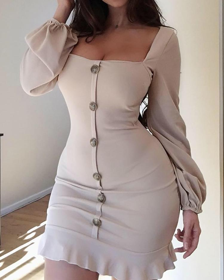 ivrose / Single-Breasted Puff Sleeve Flutter Hem Dress