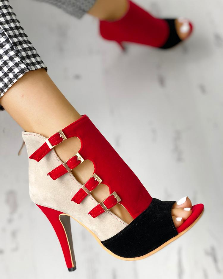 Colorblock Splicing Hollow Out Buckled Thin Heels фото