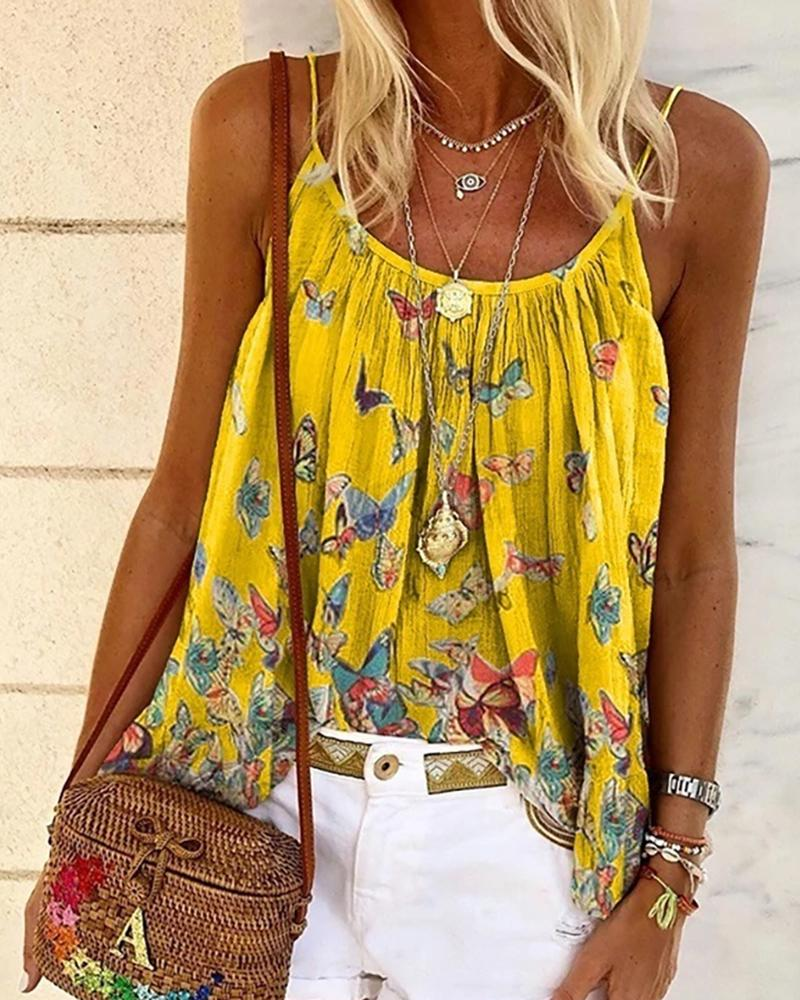 Butterfly Print Spaghetti Strap Casual Top фото