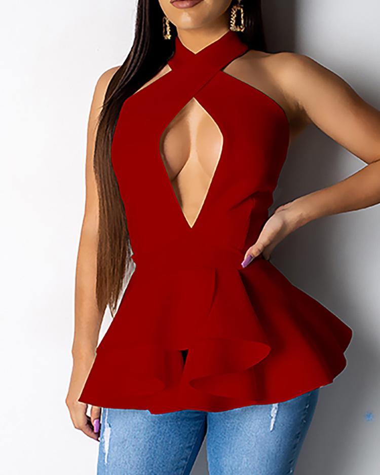 chicme / Halter Crisscross Open Back Blusa Ruched