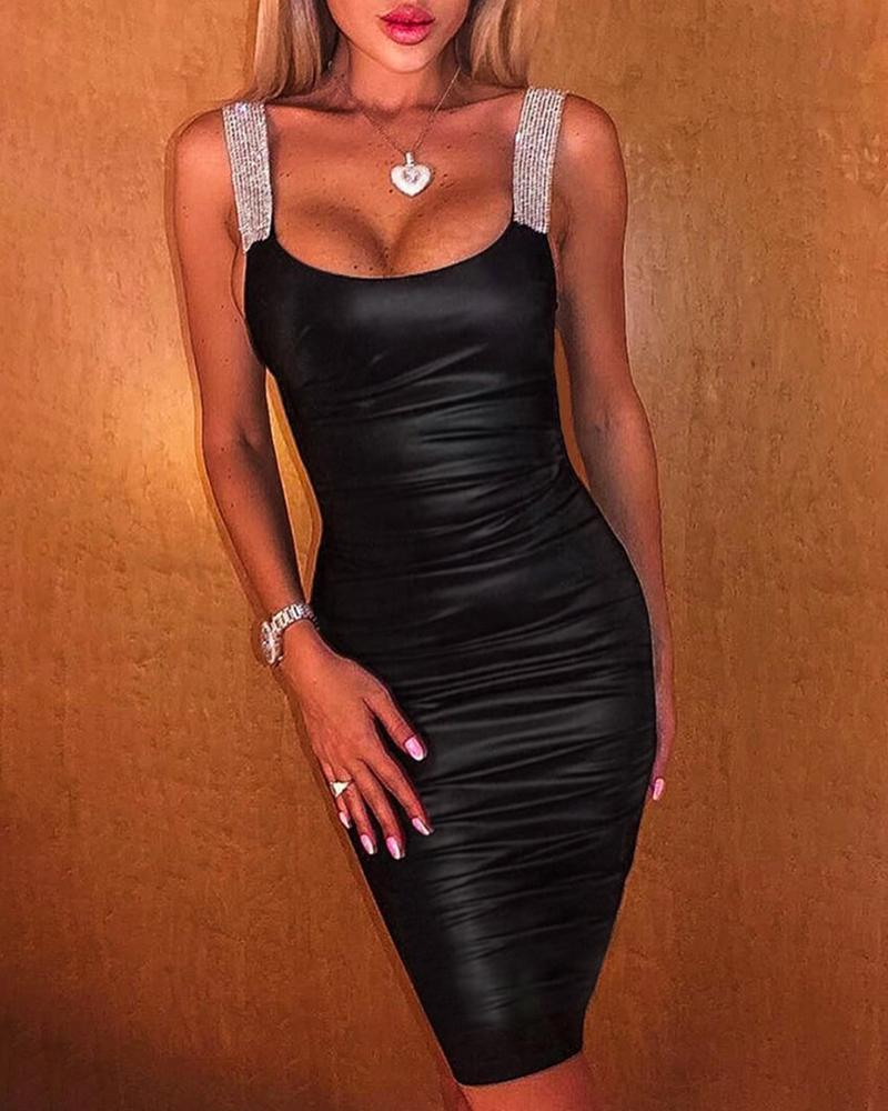 Glitter Thin Strap Ruched Bodycon Dress фото