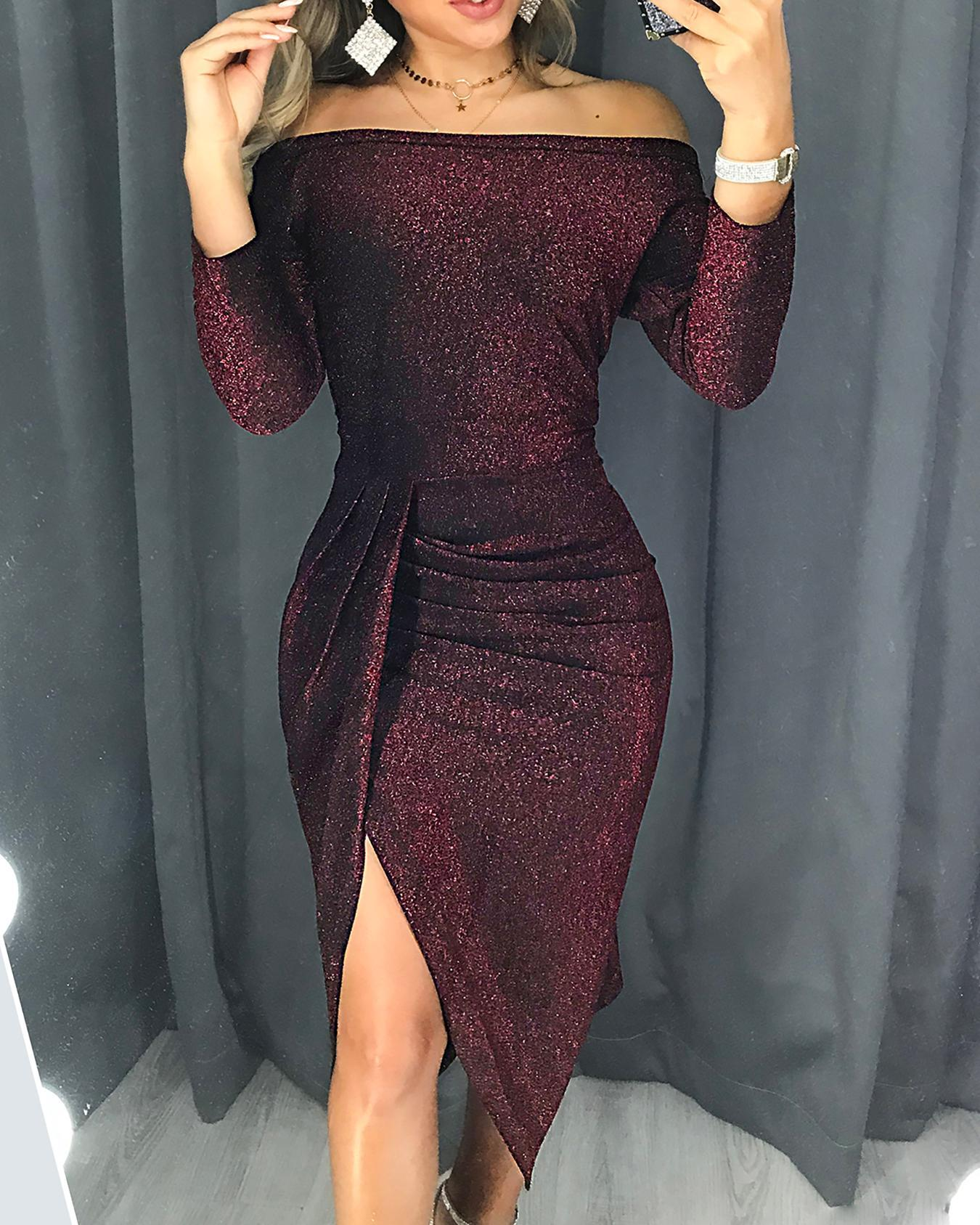 chicme / Glitter Ruched Thigh Slit Party Dress