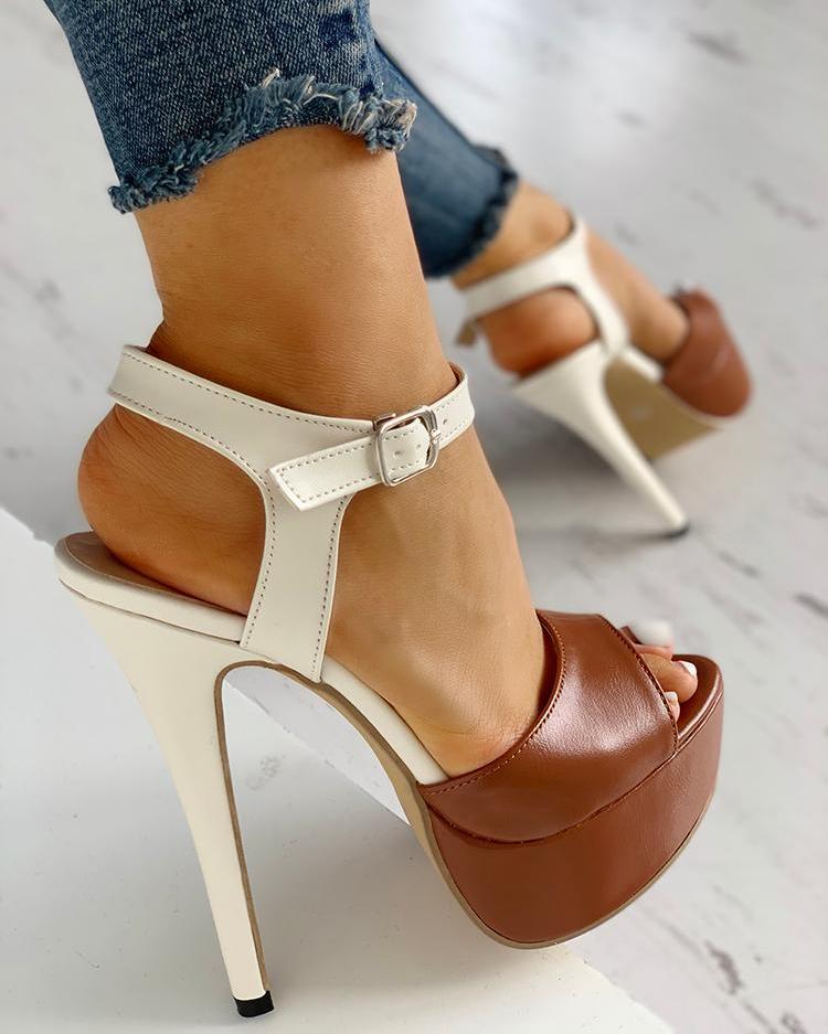 boutiquefeel / Contrast Color Platform Thin Heeled Sandals