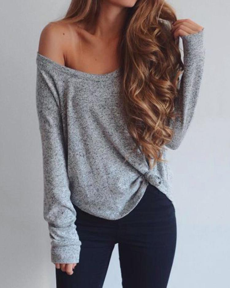 joyshoetique / Long Sleeve Off Shoulder Loose T-shirt