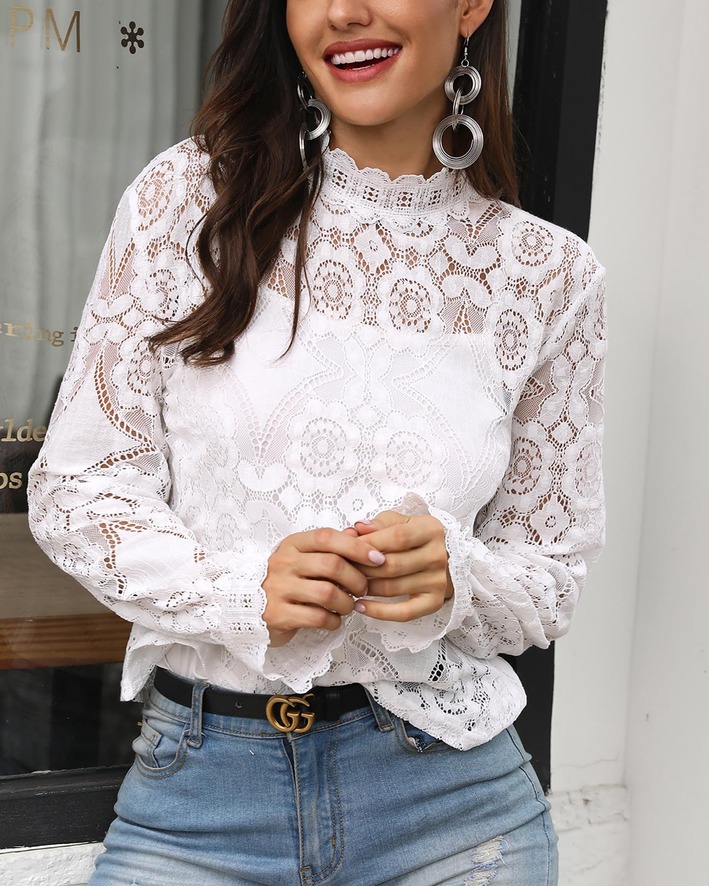 ivrose / Long Sleeve Hollow Out Lace Casual Top