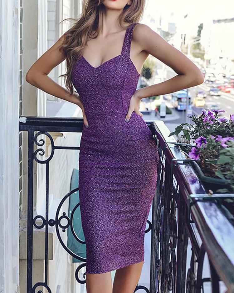 Glitter Slit Back Party Dress
