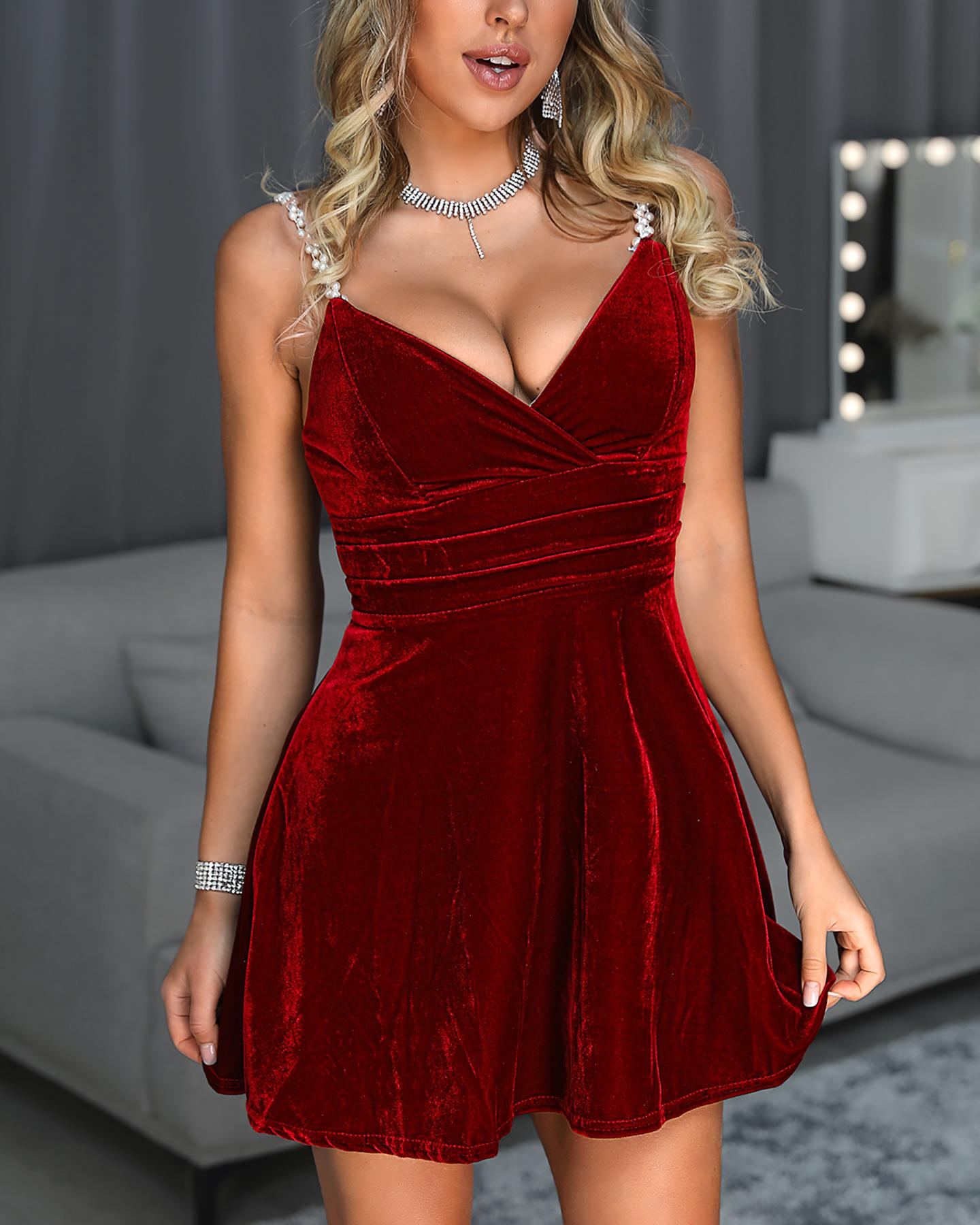 Beaded Spaghetti Strap Tight Waist Velvet Dress фото