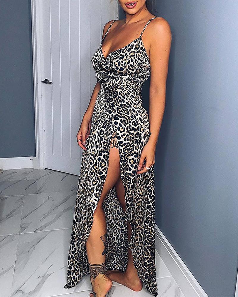 ivrose / Vestido de leopardo con tiras de espagueti