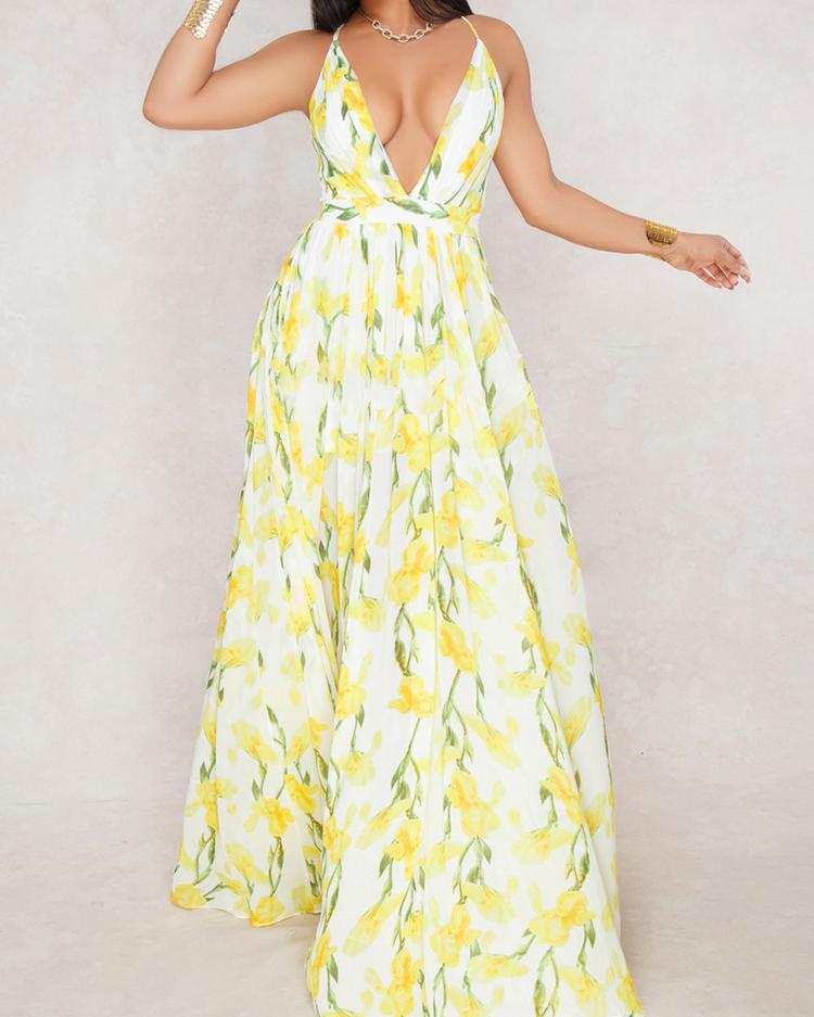 Floral Print Pleated Backless Slip Maxi Dress фото