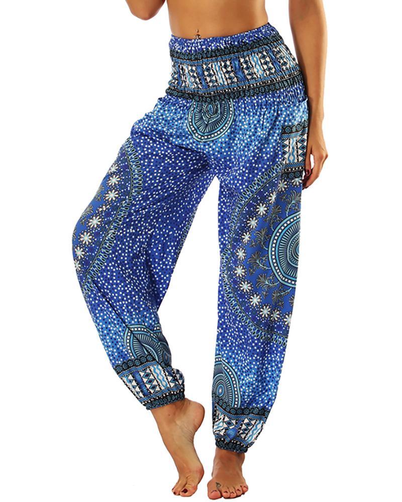 ivrose / Pantalones de yoga con estampado de pierna ancha y cintura alta