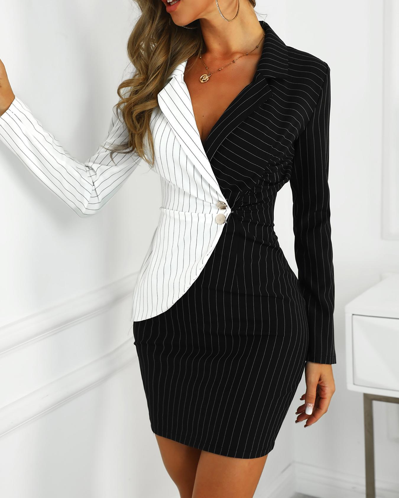 Contrast Color Striped Insert Blazer Dress фото
