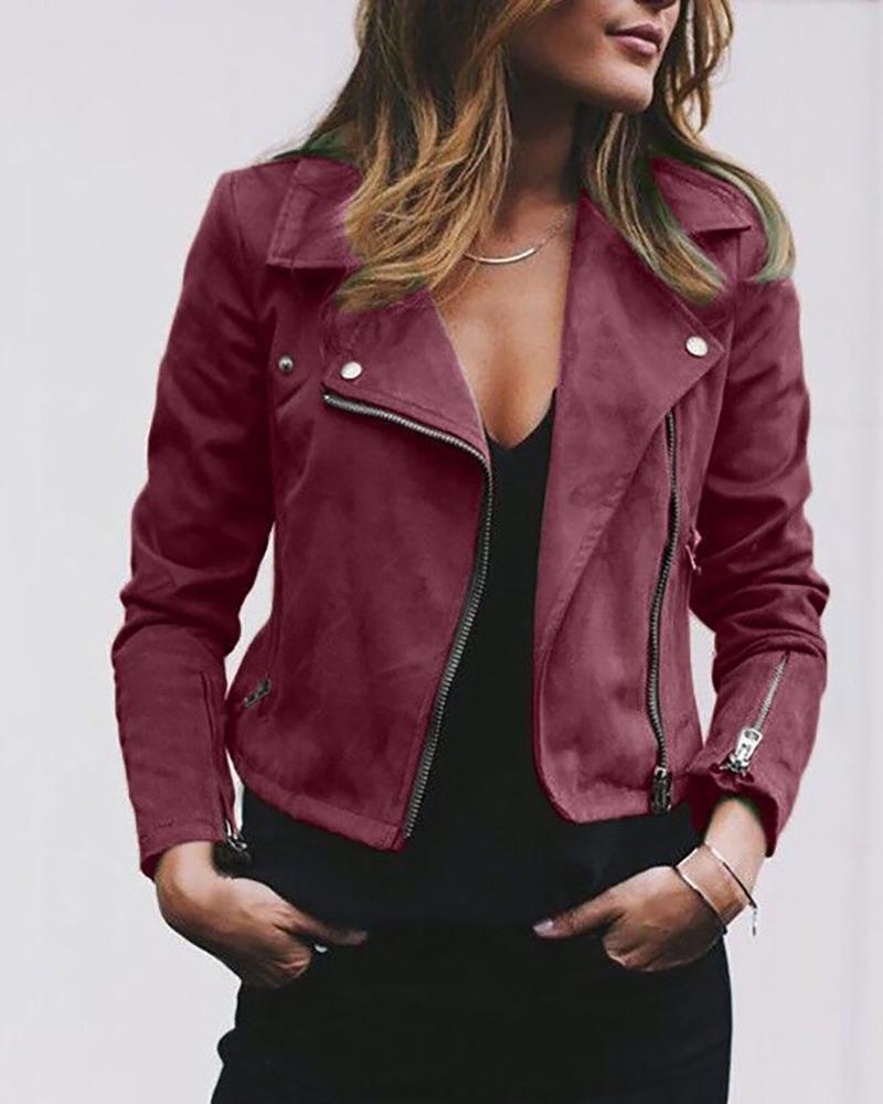 Plain Pocket Zipper Design Jacket фото