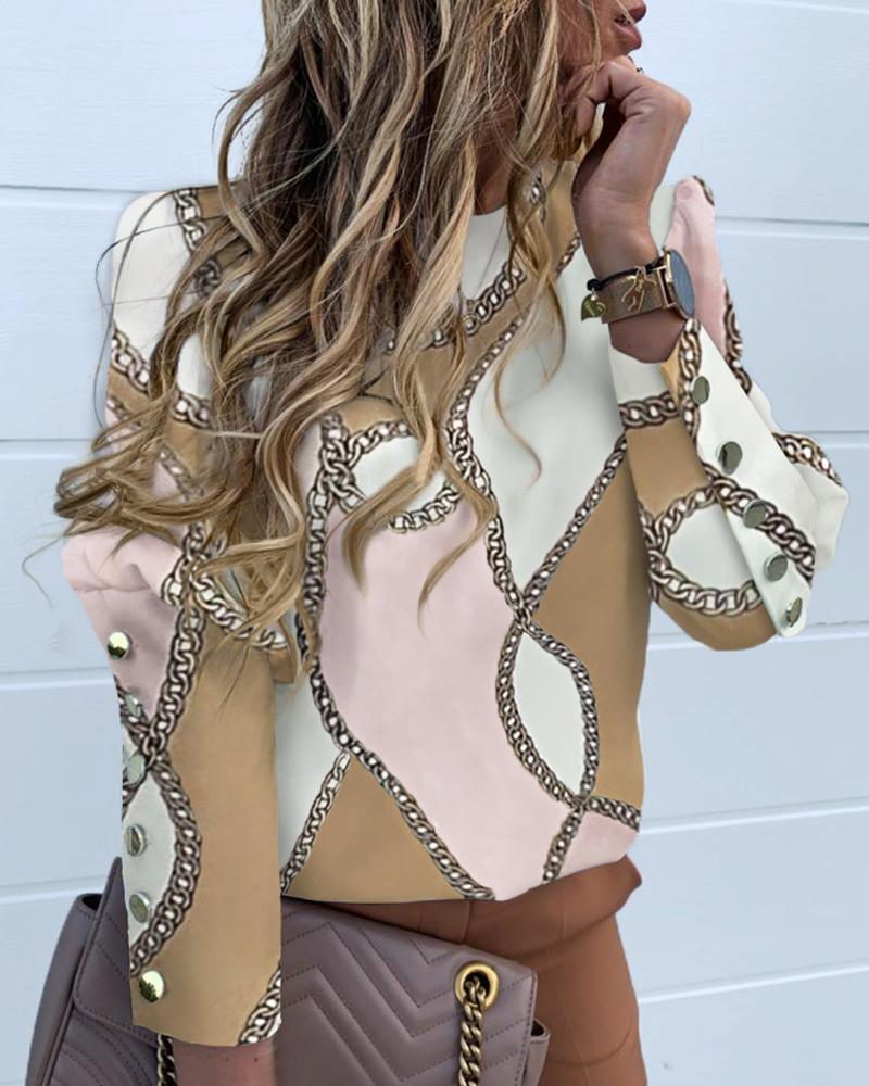 Chain Print Colorblock Long Sleeve Blouse фото