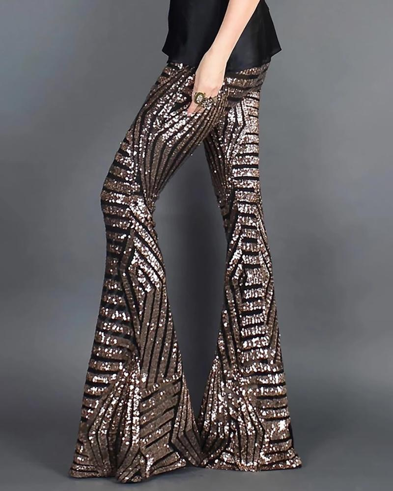 Glitter High Waist Bell-bottomed Sequins Pants фото