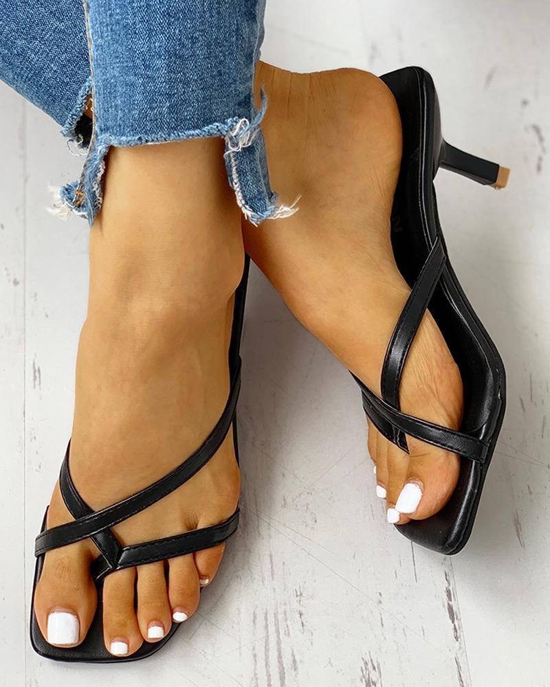 ivrose / Toe Post Multi-strap Slingback Thin Heeled Slipper Sandals