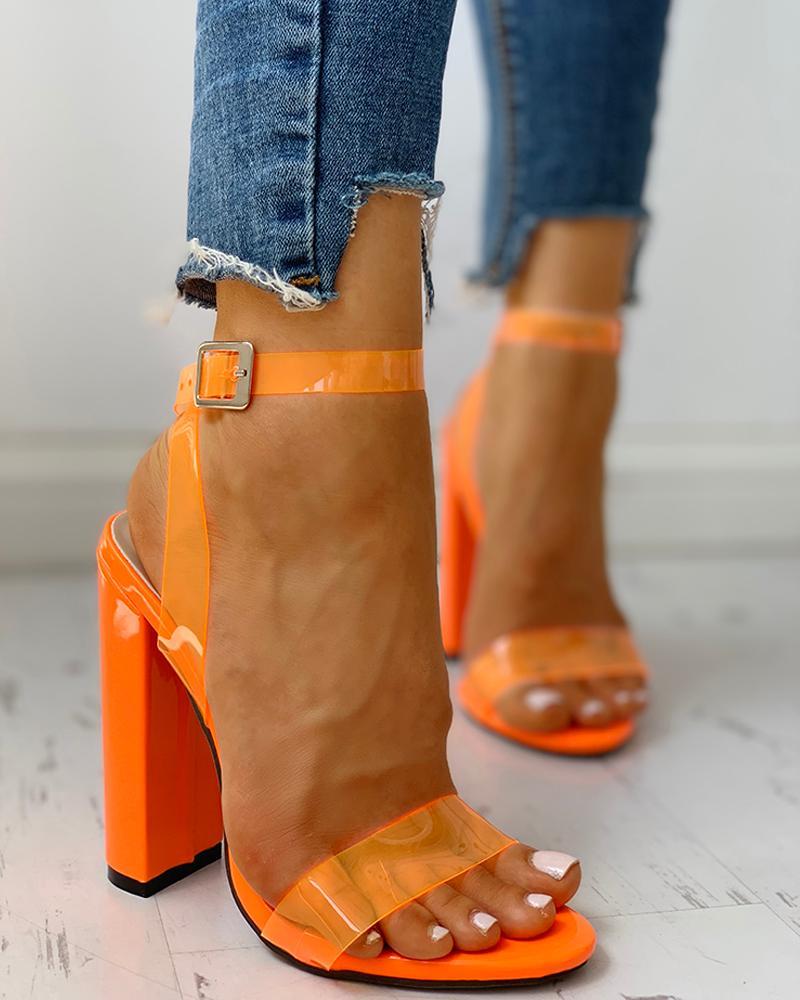 Transparent Strap Chunky Heeled Sandals фото