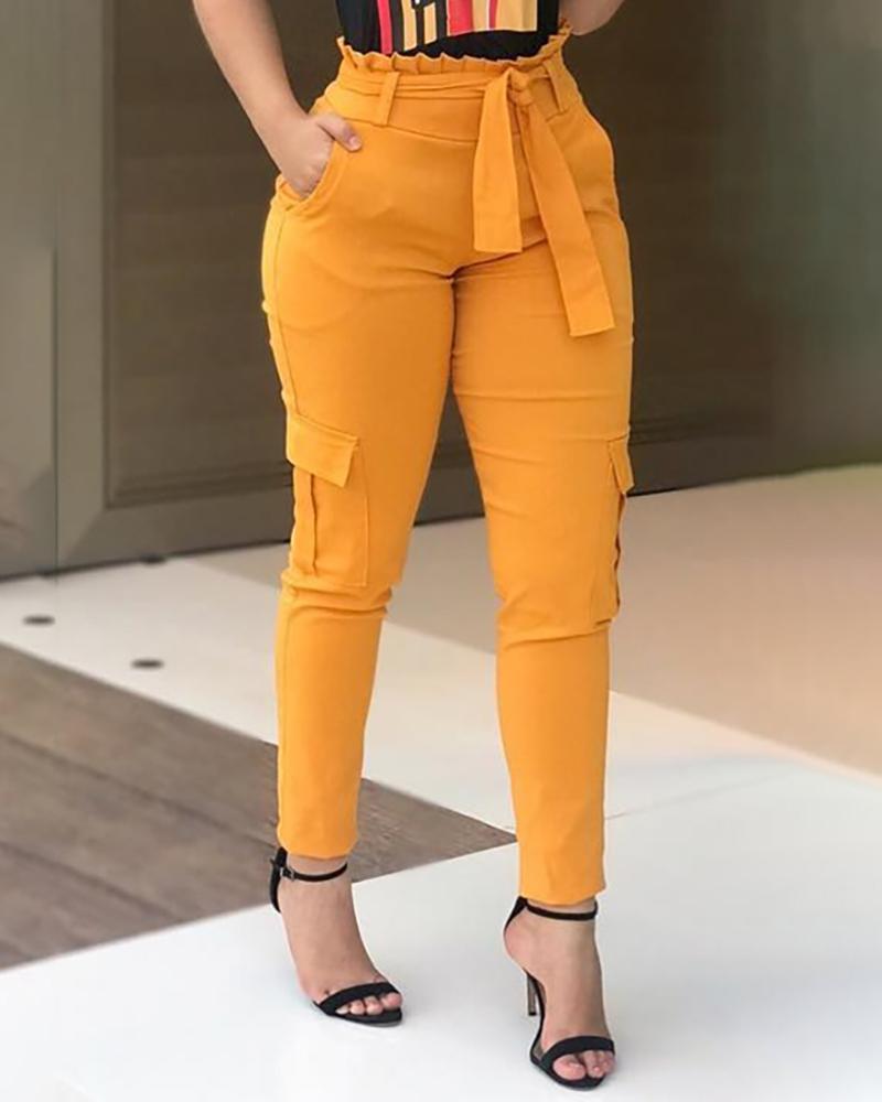 joyshoetique / High Waist Paperbag Waist Casual Pants
