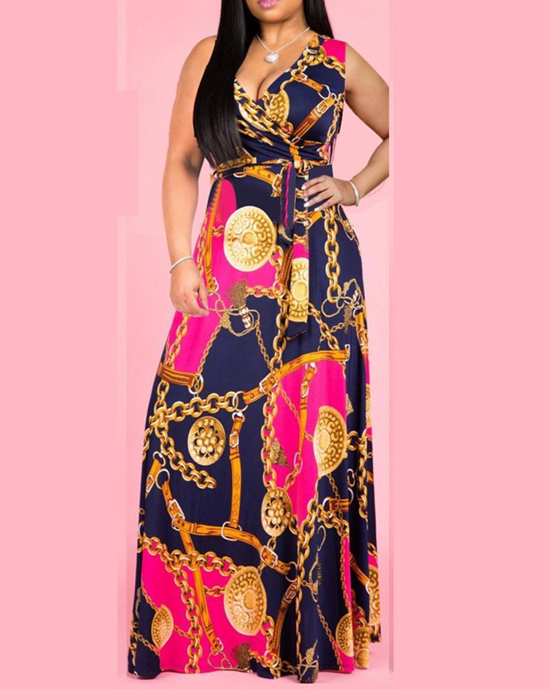 boutiquefeel / V Neck Cadeia Impresso Belted Maxi Dress