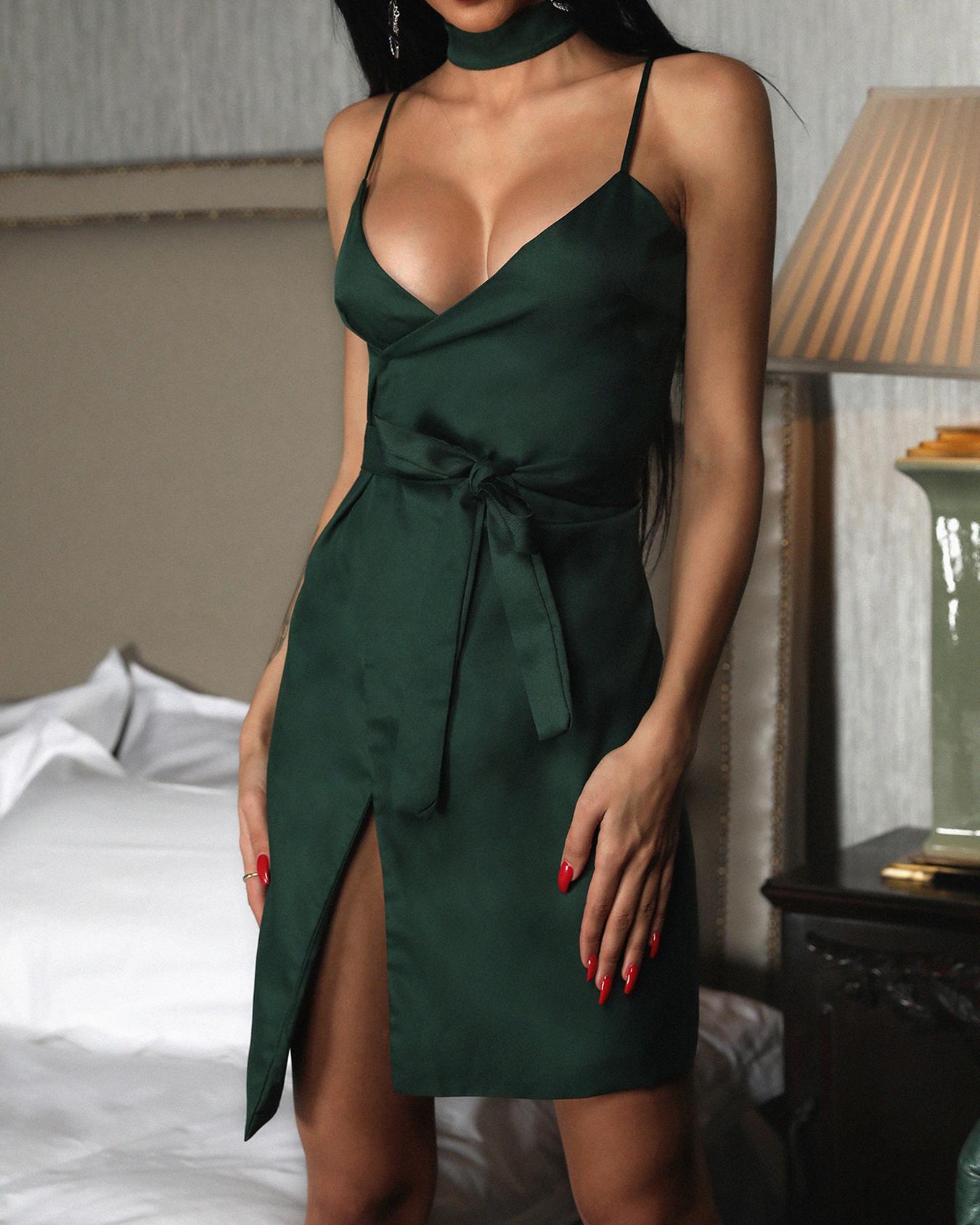 Solid Self Belted Slit Wrap Dress