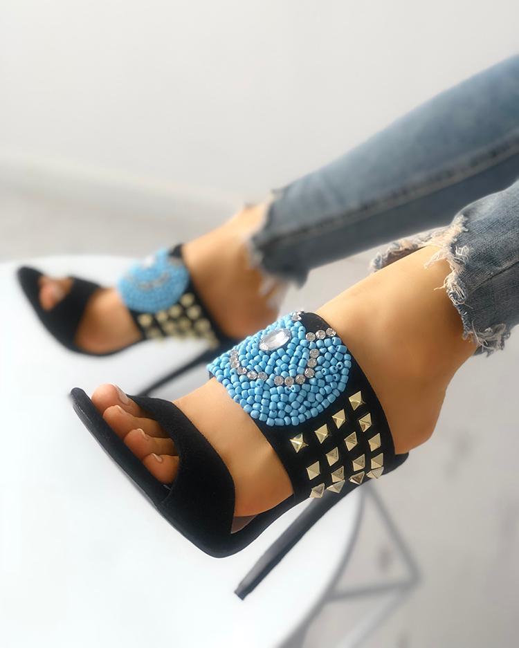 chicme / Sandálias de saltos de dedo do pé brilhante brilhante embelezado