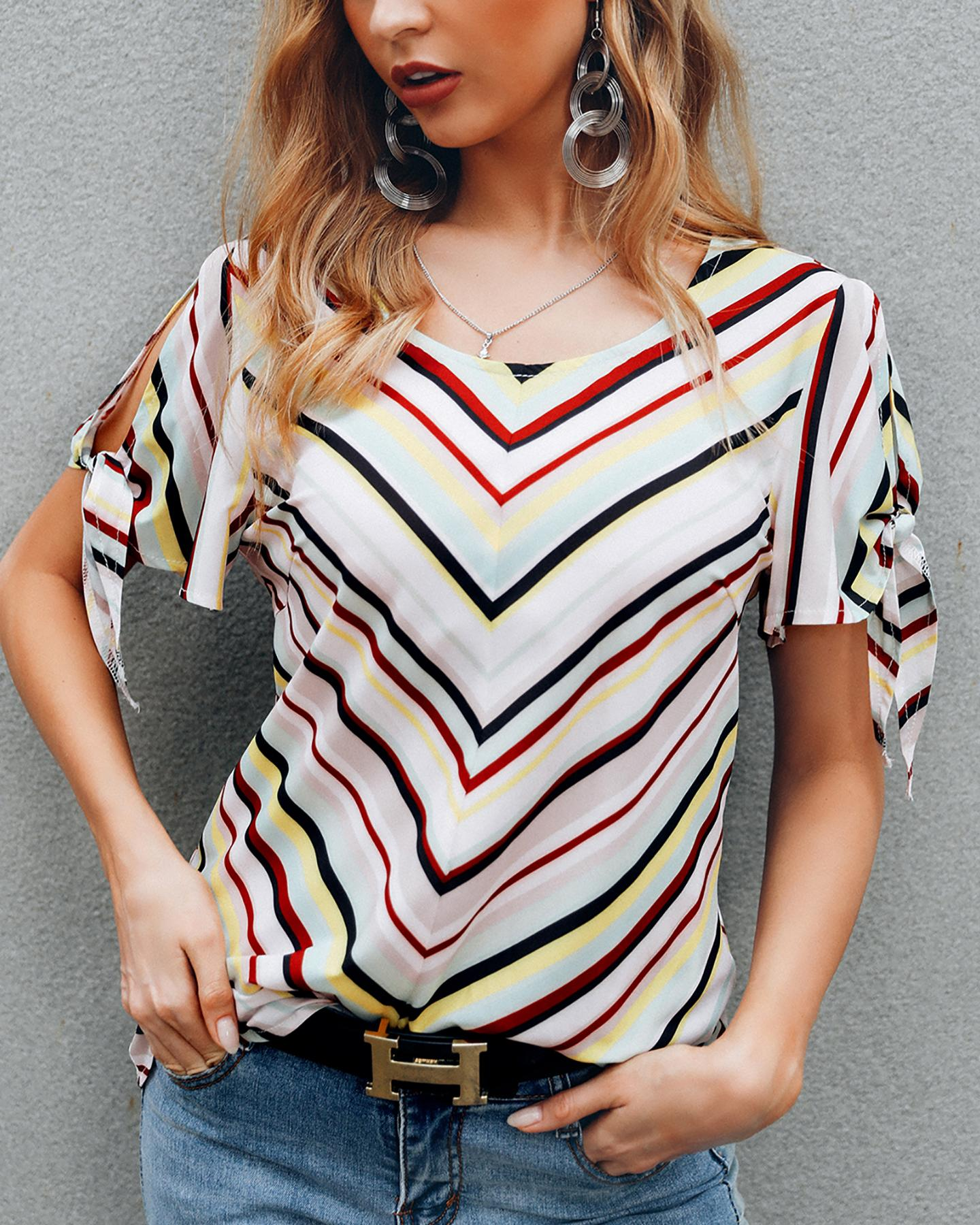 Cold Shoulder Colorful Striped Casual Blouse фото