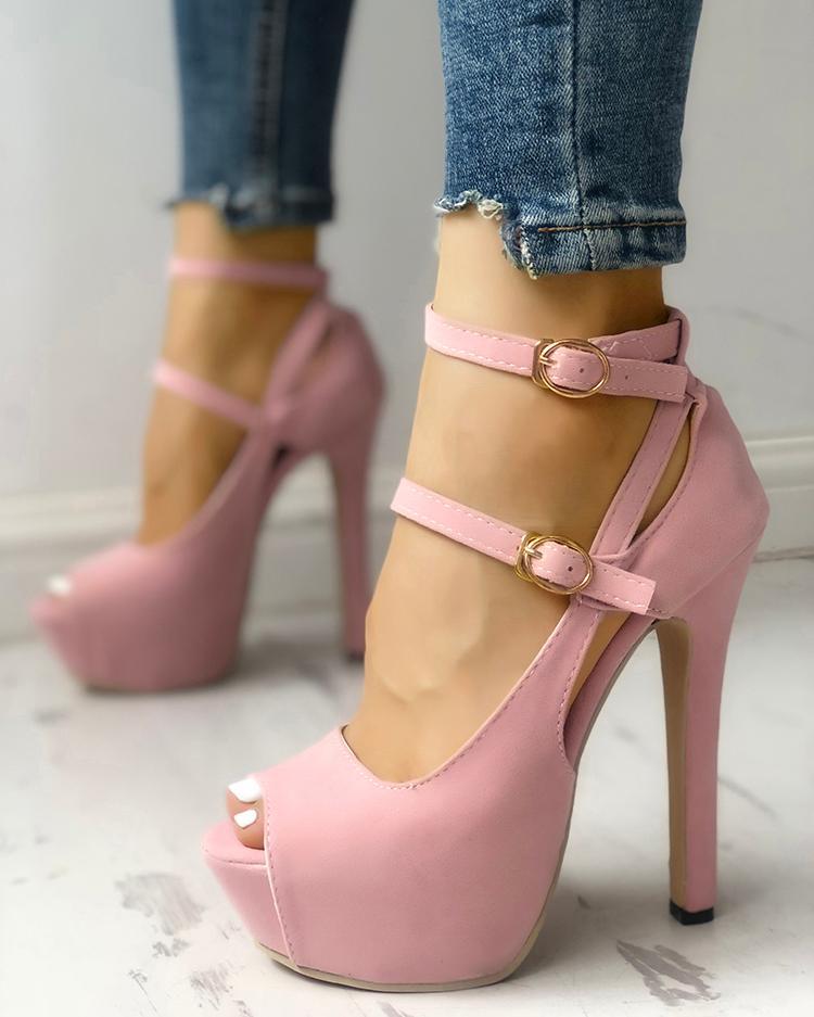 Peep Toe Buckle Platform Thin Heeled Sandals