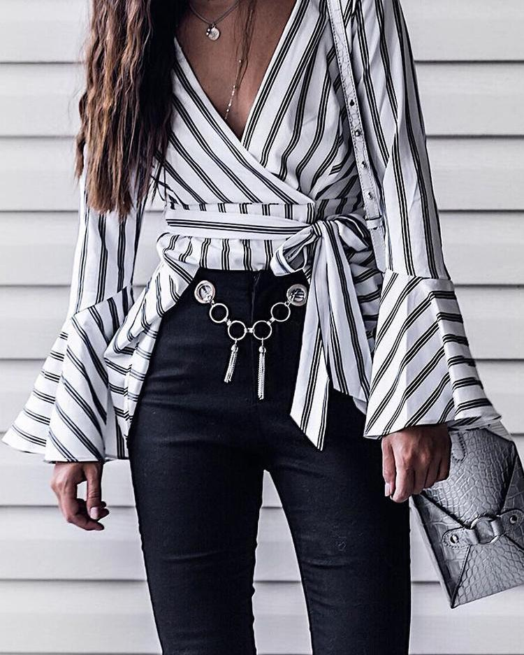Contrast Stripes Wrap Belted Flounced Blouse фото