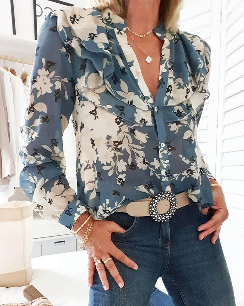 chicme / Blusa con volantes en capas con estampado floral