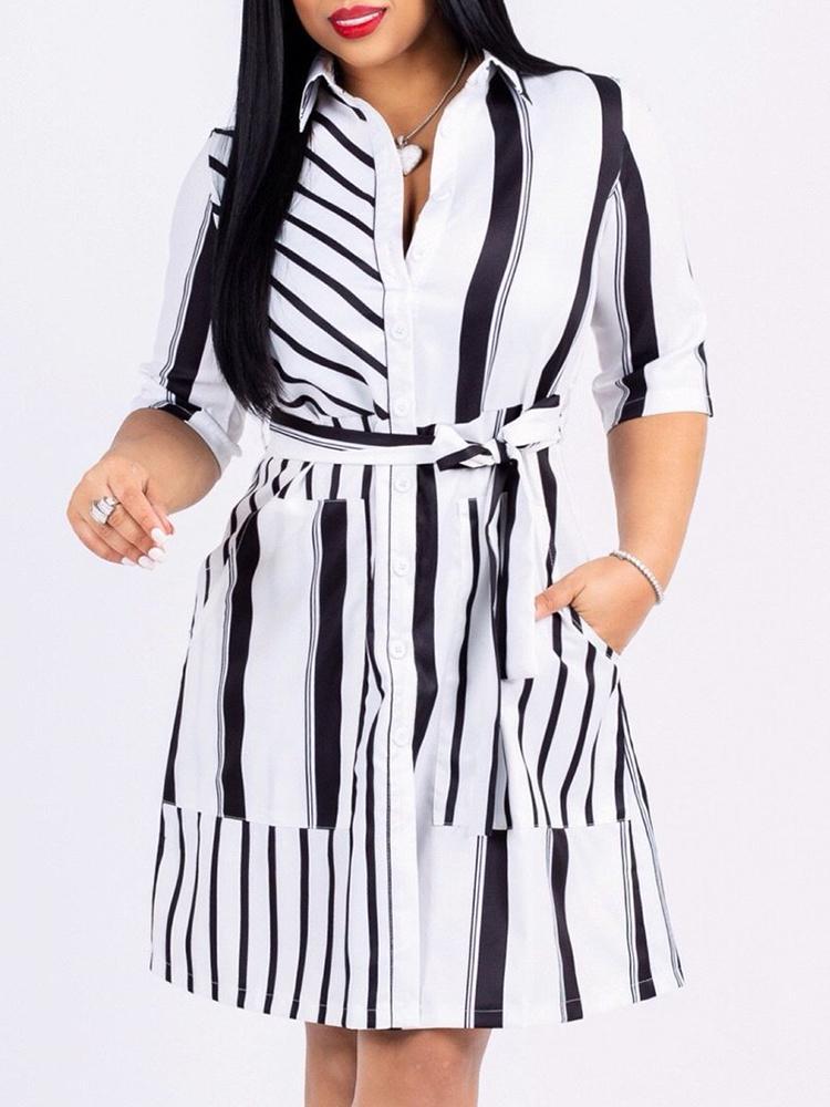 Contrast Stripes Button Up Belted Shirt Dress