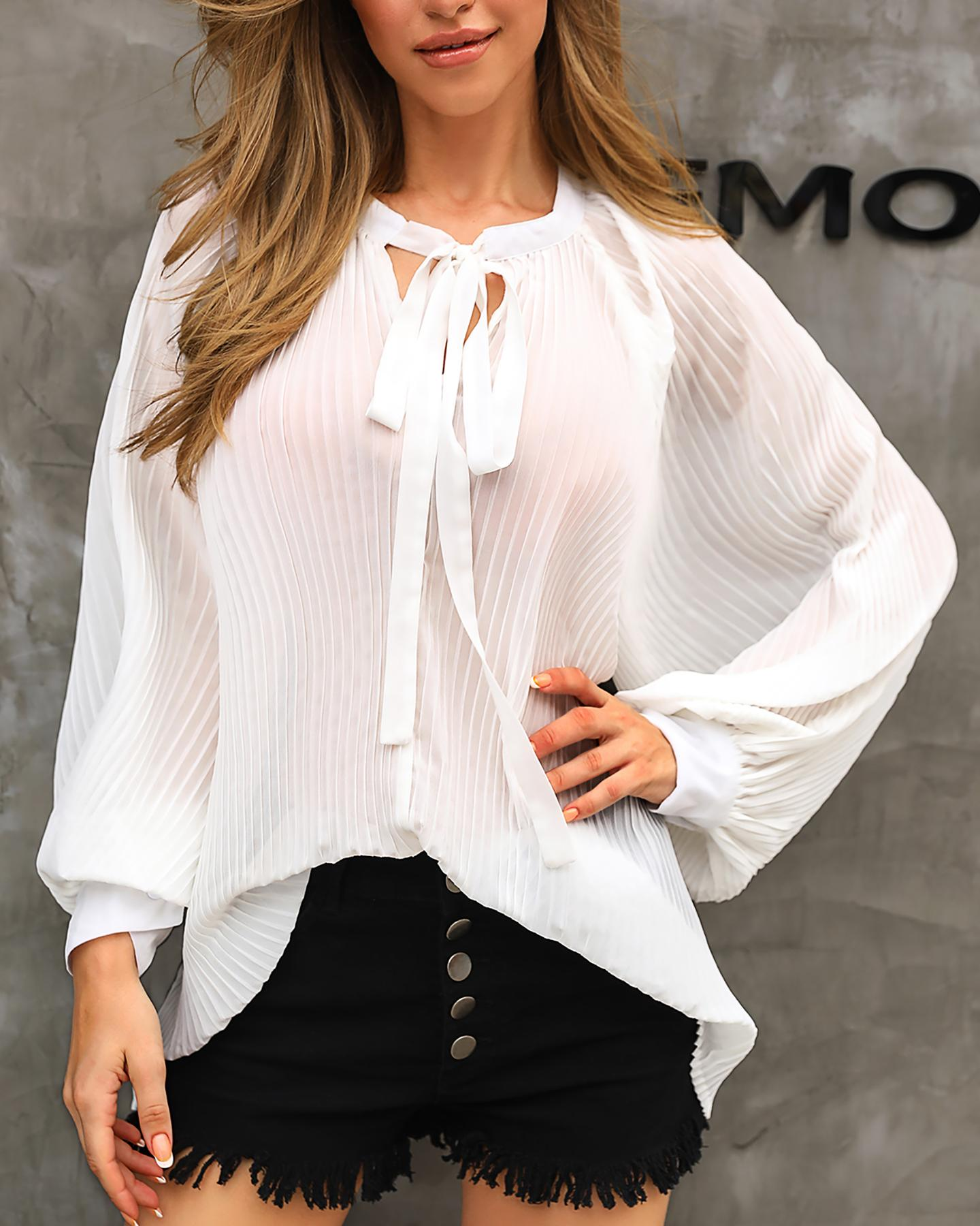 Solid V-Neck Ruched Detail Casual Blouse фото