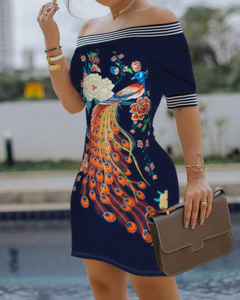 Off Shoulder Floral Peacock Print Striped Tape Bodycon Dress фото