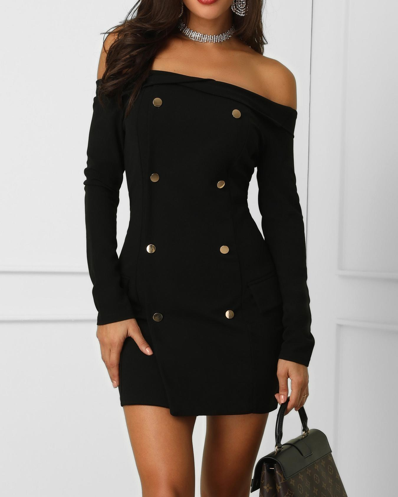 Double-Breasted Off Shoulder Mini Dress фото