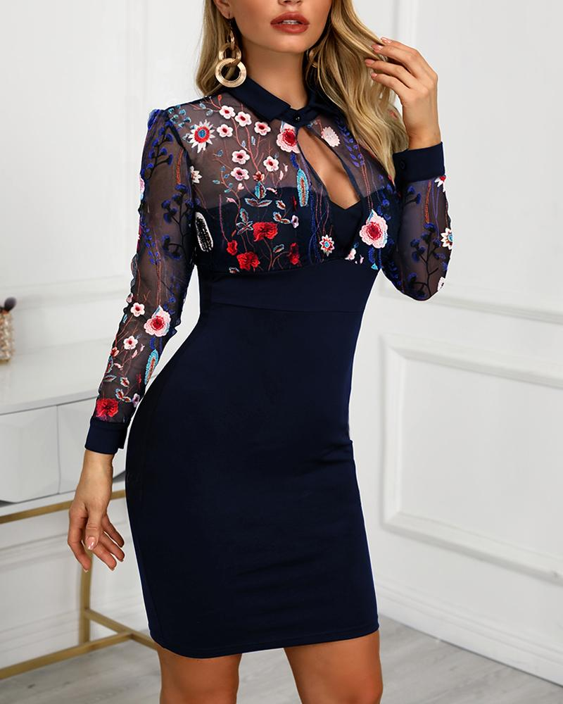 Mesh Floral Embroidery Bodycon Dress фото